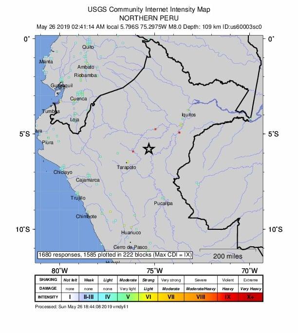 Evento Sísmico M 8.0 – 75km SSE de Lagunas, Perú